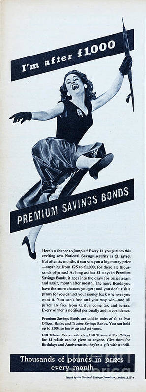 People Art Print featuring the photograph Premium Bonds by Picture Post
