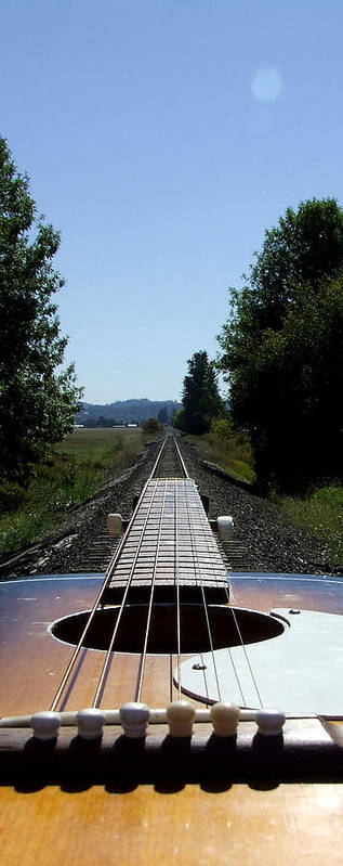 Guitar Art Print featuring the photograph Move On Down The Line by Everett Bowers