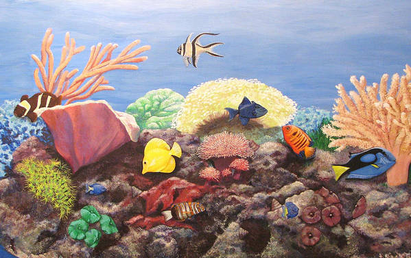 Saltwater Art Print featuring the painting Reef Aquarium Portrait by Catalina Decaire