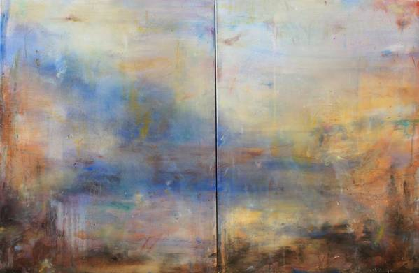 Abstract Art Print featuring the painting English Landscape 80 X 120 Diptych by Thomas Darnell