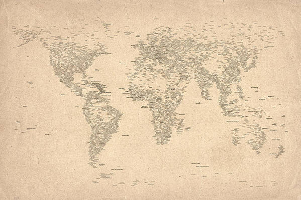 Map Of The World Art Print featuring the digital art World Map Of Cities by Michael Tompsett