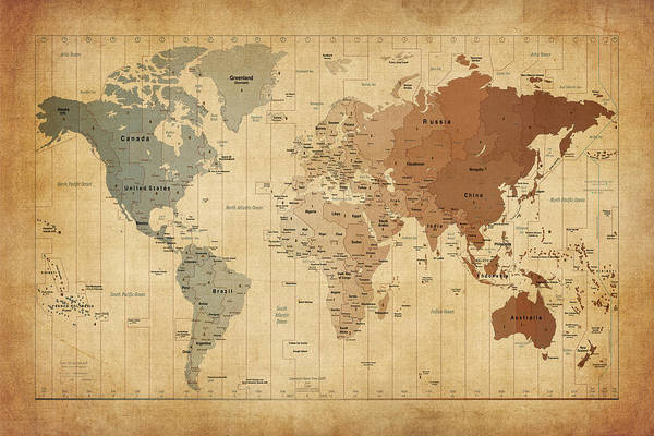 World Map Canvas Art Print featuring the digital art Time Zones Map Of The World by Michael Tompsett