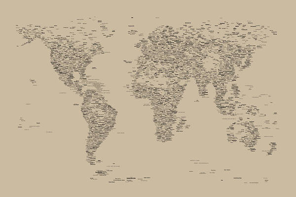 Map Of The World Print featuring the digital art World Map Of Cities by Michael Tompsett