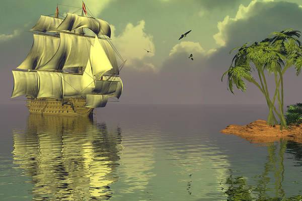 Bryce 3d Fantasy tall Ships Windjammer Sea Art Print featuring the digital art Rain Squall On The Horizon by Claude McCoy