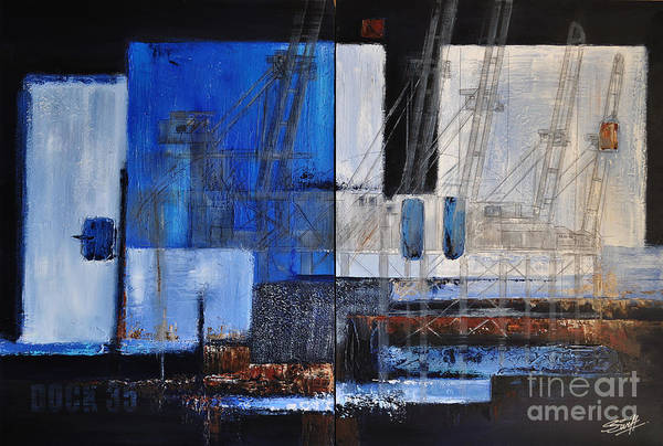 Docks Art Print featuring the painting Dock 35 by Sallie-Anne Swift