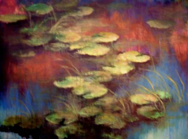 Lilly Pond Art Print featuring the mixed media Lilly Pond In Autum by Renee Shular