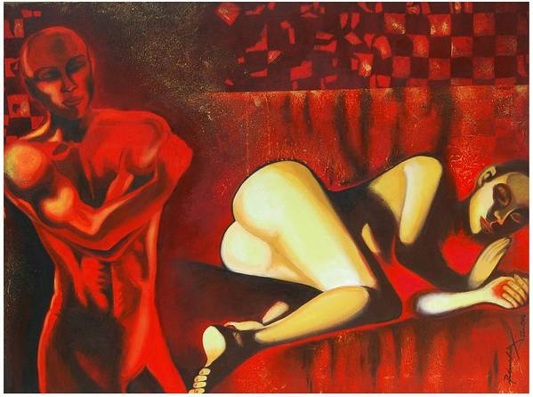 Figurative Art Print featuring the painting My Dilemma by Padmakar Kappagantula