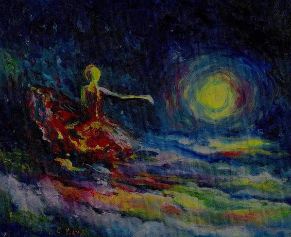 Skyscape Art Print featuring the painting Dancing With The Moon by Stephanie Cox