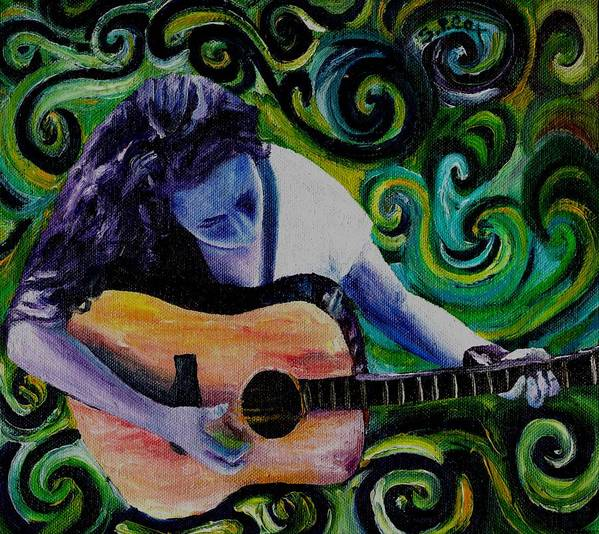Decorative Surreal Music Art Print featuring the painting Guitar Heroine by Stephanie Cox