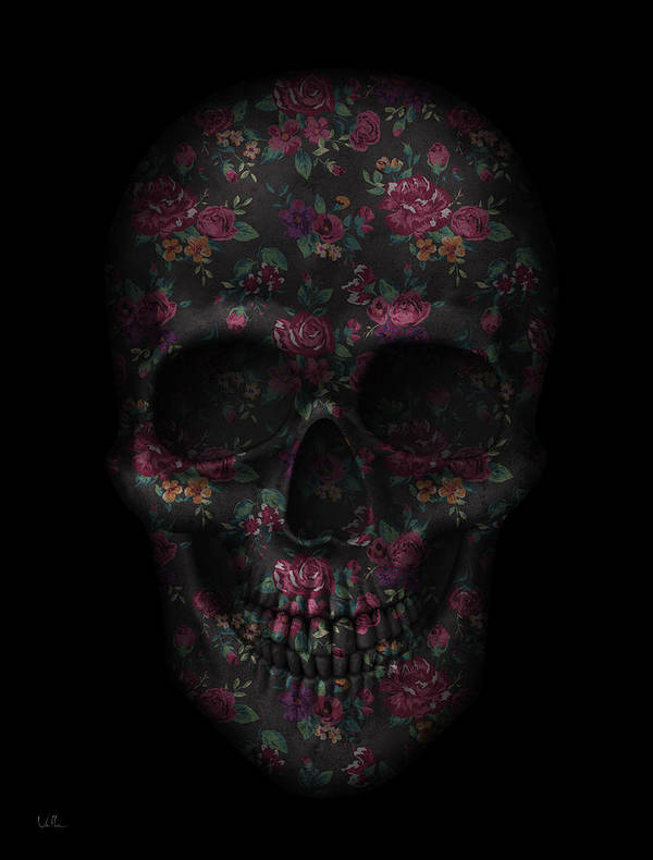 Hipster Art Print featuring the digital art Skull Black Flowers by Francisco Valle