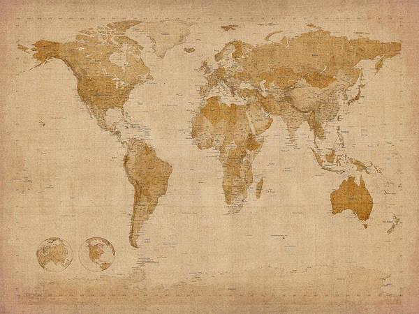 World Map Art Print featuring the digital art World Map Antique Style by Michael Tompsett