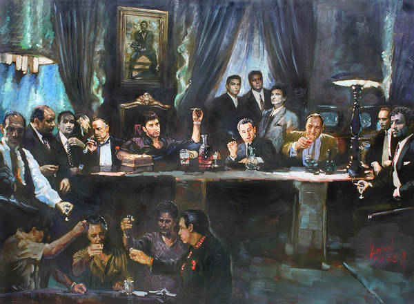 Gangsters Art Print featuring the painting Fallen Last Supper Bad Guys by Ylli Haruni