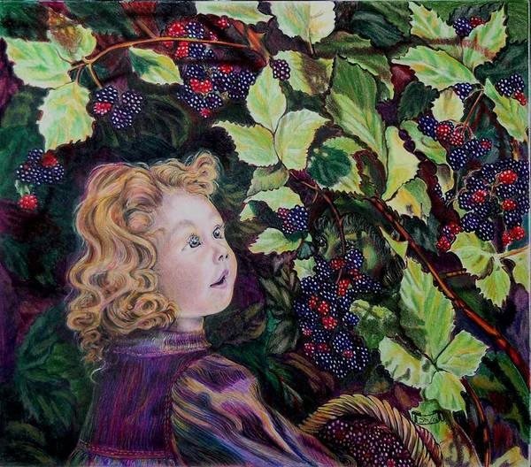 Blackberry Art Print featuring the drawing Blackberry Elf by Susan Moore