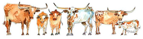 Longhorn Watercolor Painting Together We Stand LH013 by Kathleen McElwaine