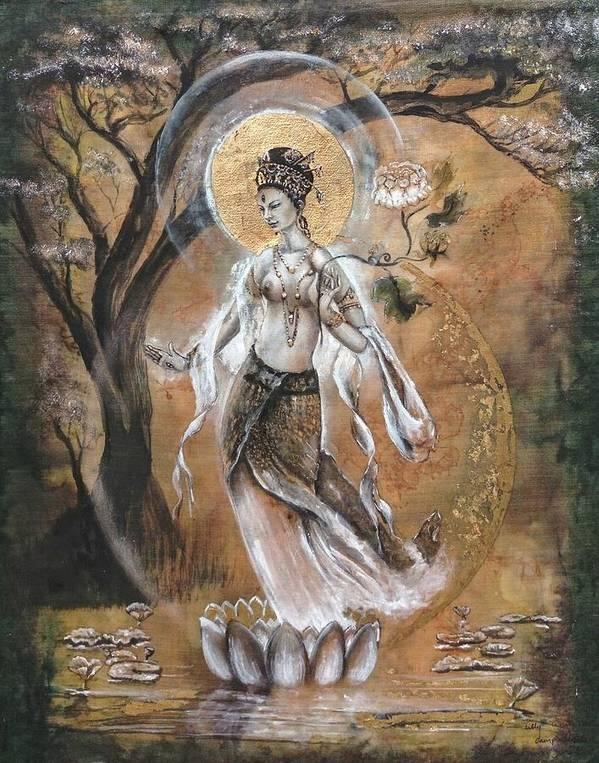 WHITE TARA with Lotuses by Silk Alchemy