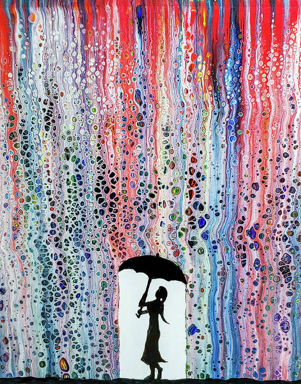 Rainbow Shower Abstract Art Painting by Andres Ramos