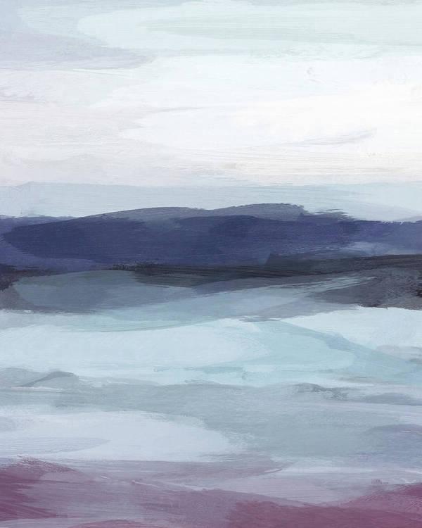 Navy Plum Blue Gray Abstract Digital Art Painting by Rachel Elise