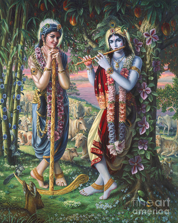 Krishna and Balaram  by Vishnudas Art