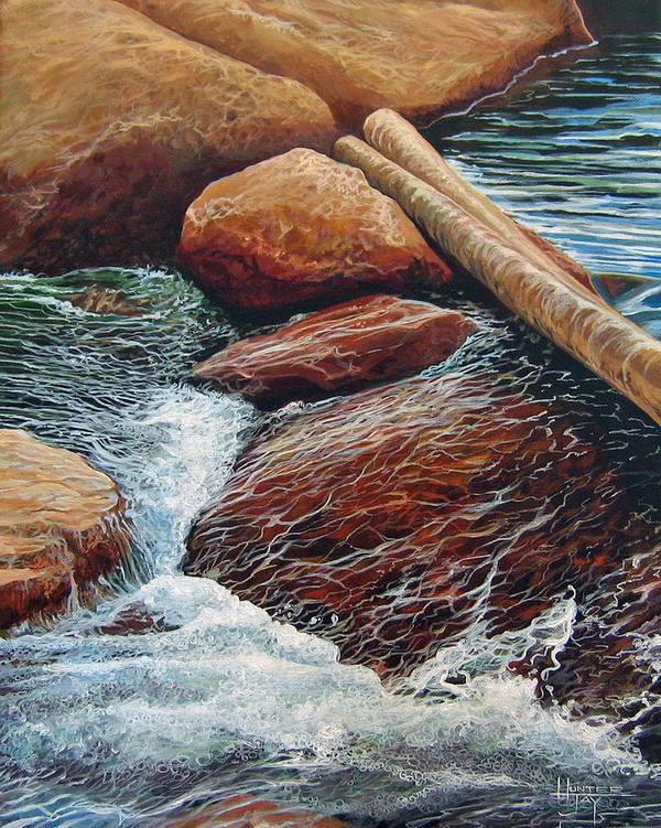Stream Art Print featuring the painting The Crossing by Hunter Jay