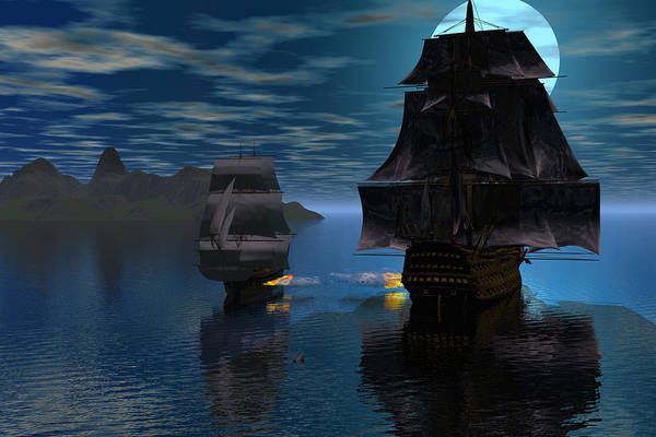 Bryce 3d Fantasy Windjammer Battle Art Print featuring the digital art Night Encounter by Claude McCoy