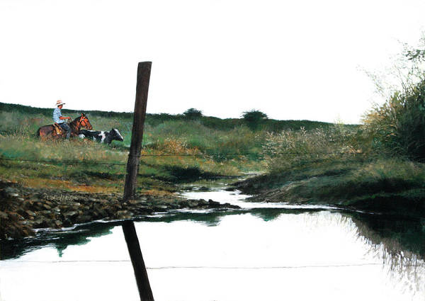Landscape Art Print featuring the painting Reflection by Pedro Mauro Dias