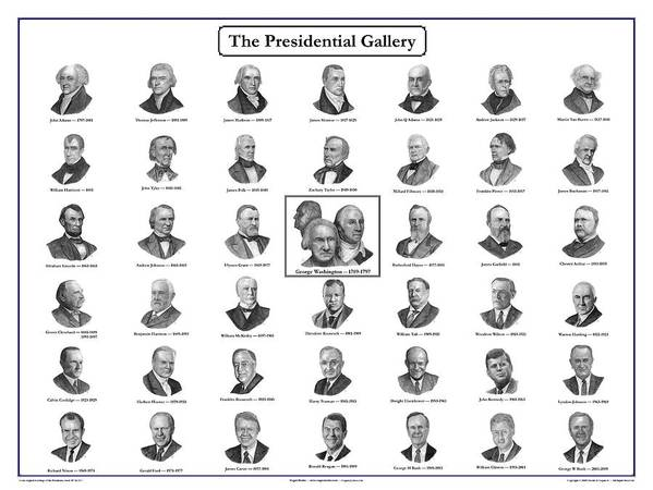 President Art Print featuring the drawing Presidential Gallery Poster by Charles Vogan