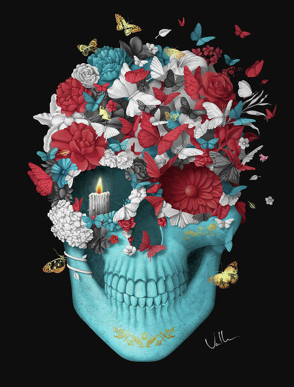 Art Print featuring the digital art Skull Hope Black by Francisco Valle