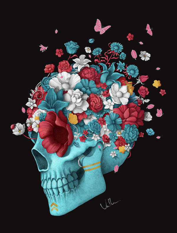 Skull Art Print featuring the digital art Skull Life Black by Francisco Valle