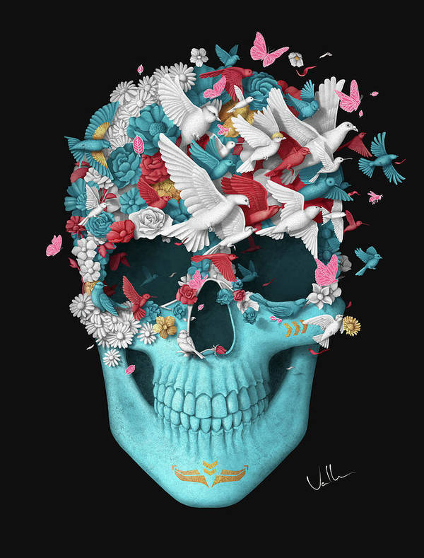 Art Print featuring the digital art Skull Wings Black by Francisco Valle
