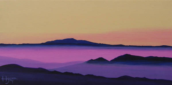 Mountains Art Print featuring the painting Early Morning by Hunter Jay
