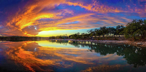 Spectacular Sky Waves Panorama at Boerne City Lake by Lynn Bauer