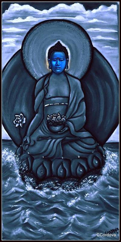 Medicine Buddha Art Print featuring the painting Buddha In Black And White by Carmen Cordova