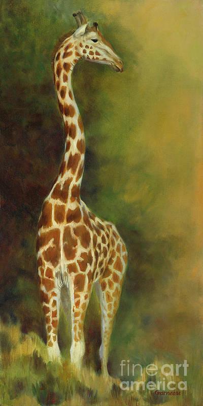 Giraffe Art Print featuring the painting a Bird's Eye View by Catherine Garneau