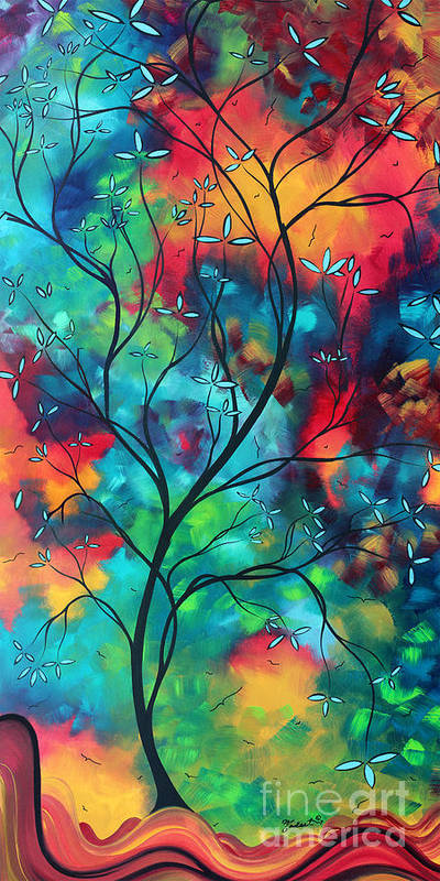 Abstract Art Print featuring the painting Bold Rich Colorful Landscape Painting Original Art Colored Inspiration By Madart by Megan Duncanson