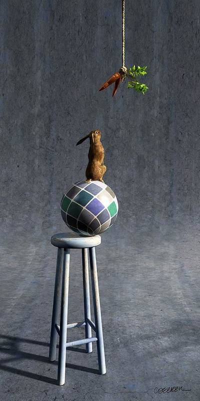 Rabbit Art Print featuring the digital art Equilibrium II by Cynthia Decker