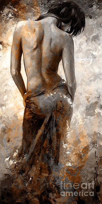 Nude Art Print featuring the painting Lady In Red #27 Digital Colored Rust by Emerico Imre Toth