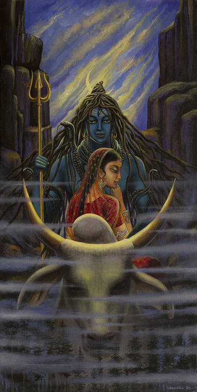 Shiva Parvati Night In Himalayas Art Print By Vrindavan Das
