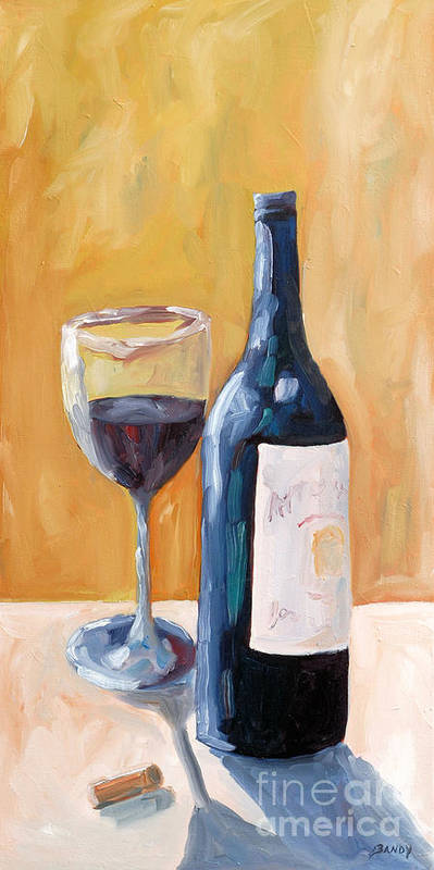 Wine Art Print featuring the painting Wine Bottle Still Life by Todd Bandy