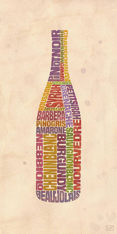 Wine Art Print featuring the painting Burgundy Wine Word Bottle by Mitch Frey
