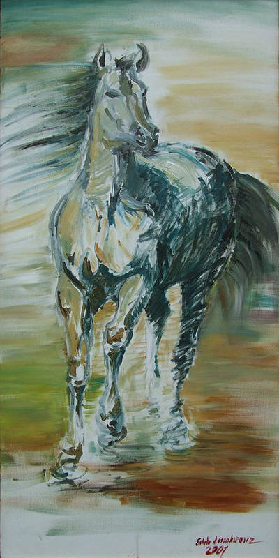 Horse Art Print featuring the painting Blue Horse by Edyta Loszakiewicz