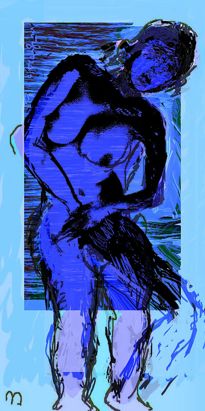Blue Art Print featuring the drawing Cobalt by Noredin Morgan