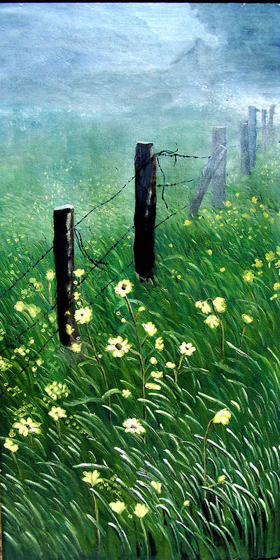 Landscape Art Print featuring the painting Fence With A Ghost House by Robert Thomaston