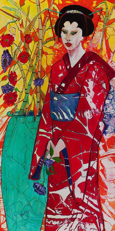 Geisha Art Print featuring the painting Geisha by Mary DuCharme