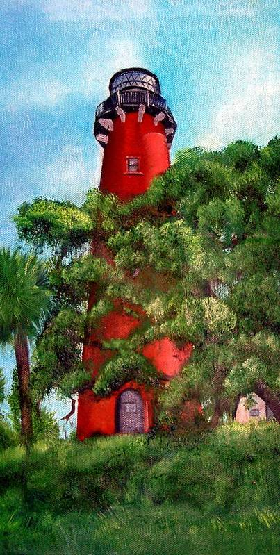 Jupiter Lighthouse Art Print featuring the painting Jupiter Inlet Lighthouse by Darlene Green