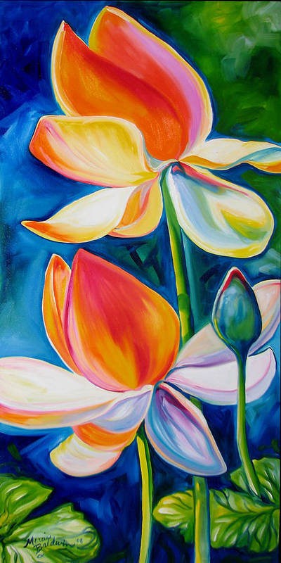 Lotus Art Print featuring the painting Lotus Blossoming by Marcia Baldwin
