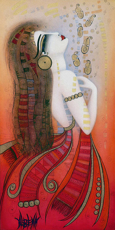 Red Art Print featuring the painting My Soul Is A Moan... by Albena Vatcheva