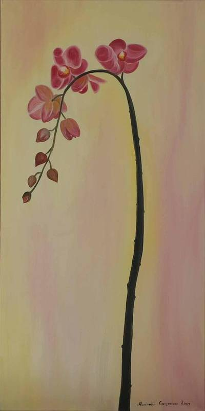 Marinella Owens Art Print featuring the painting Orchide In Pink by Marinella Owens