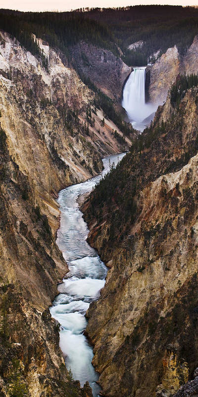 River Art Print featuring the photograph Yellowstone River Falls by Chad Davis