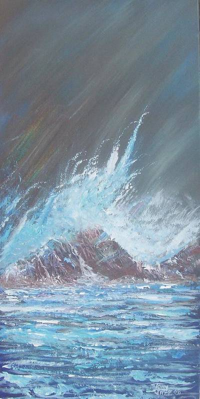 Seascape Art Print featuring the painting Portrait Of A Wave by Tony Rodriguez