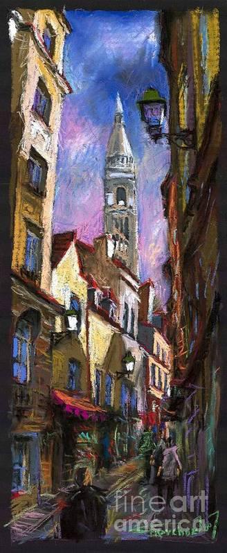 Pastel Art Print featuring the painting Paris Montmartre by Yuriy Shevchuk